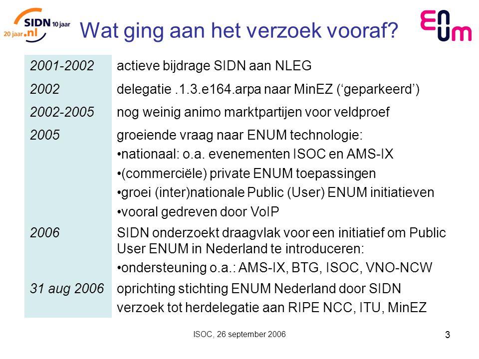 ISOC, 26 september 2006 3 Wat ging aan het verzoek vooraf.