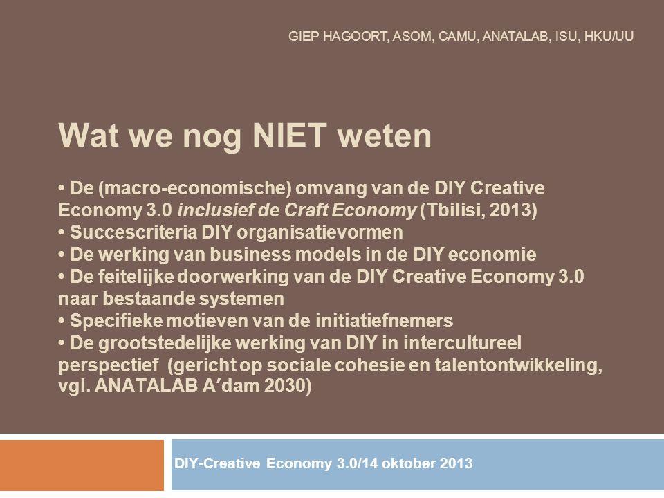 GIEP HAGOORT, ASOM, CAMU, ANATALAB, ISU, HKU/UU Wat we nog NIET weten De (macro-economische) omvang van de DIY Creative Economy 3.0 inclusief de Craft