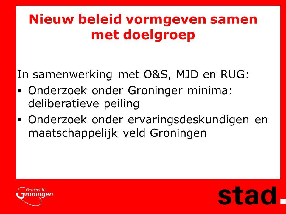 Nieuw beleid vormgeven samen met doelgroep In samenwerking met O&S, MJD en RUG:  Onderzoek onder Groninger minima: deliberatieve peiling  Onderzoek onder ervaringsdeskundigen en maatschappelijk veld Groningen