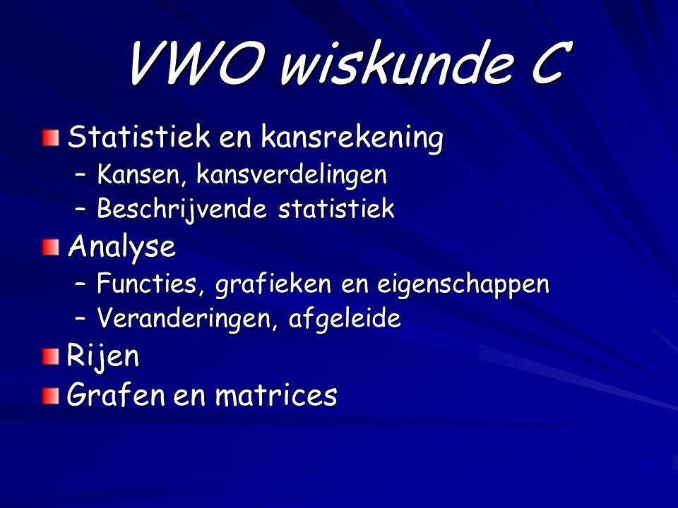VWO wiskunde C Statistiek en kansrekening –Kansen, kansverdelingen –Beschrijvende statistiek Analyse –Functies, grafieken en eigenschappen –Veranderin