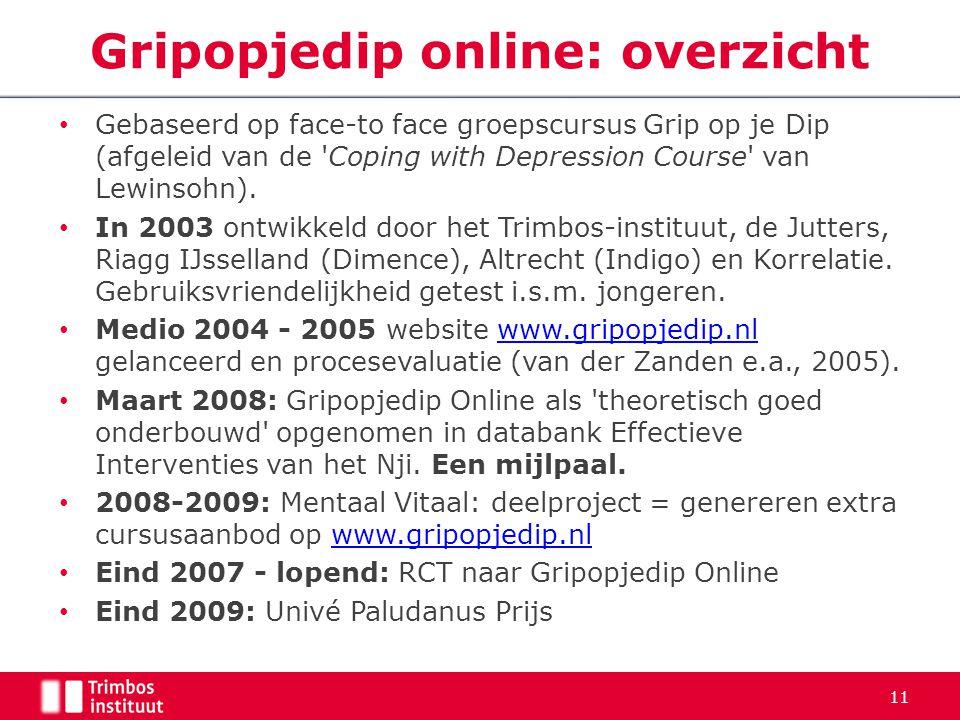 Gebaseerd op face-to face groepscursus Grip op je Dip (afgeleid van de 'Coping with Depression Course' van Lewinsohn). In 2003 ontwikkeld door het Tri