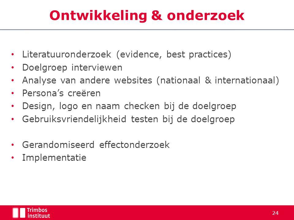 Literatuuronderzoek (evidence, best practices) Doelgroep interviewen Analyse van andere websites (nationaal & internationaal) Persona's creëren Design