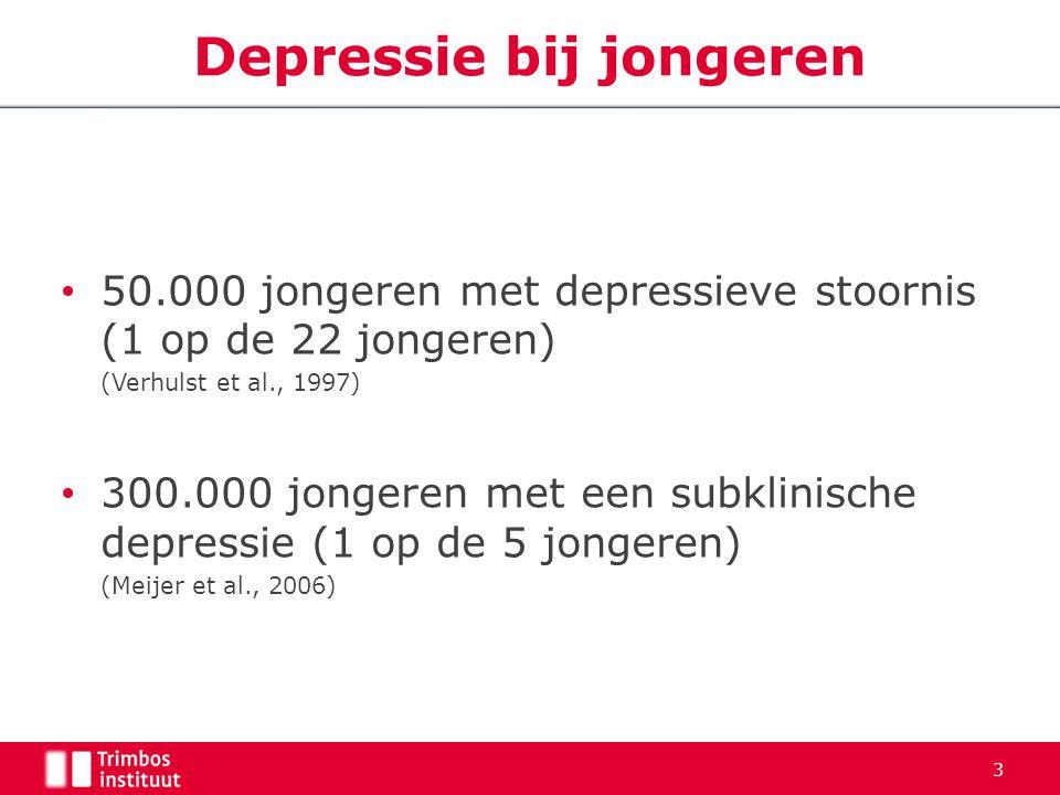 50.000 jongeren met depressieve stoornis (1 op de 22 jongeren) (Verhulst et al., 1997) 300.000 jongeren met een subklinische depressie (1 op de 5 jong