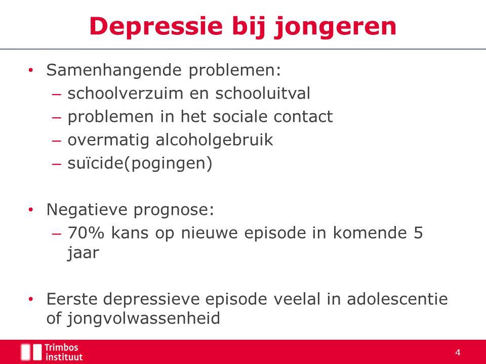 Samenhangende problemen: – schoolverzuim en schooluitval – problemen in het sociale contact – overmatig alcoholgebruik – suïcide(pogingen) Negatieve p