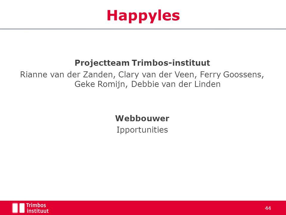 44 Happyles Projectteam Trimbos-instituut Rianne van der Zanden, Clary van der Veen, Ferry Goossens, Geke Romijn, Debbie van der Linden Webbouwer Ippo