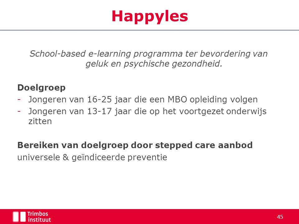 45 Happyles School-based e-learning programma ter bevordering van geluk en psychische gezondheid. Doelgroep -Jongeren van 16-25 jaar die een MBO oplei