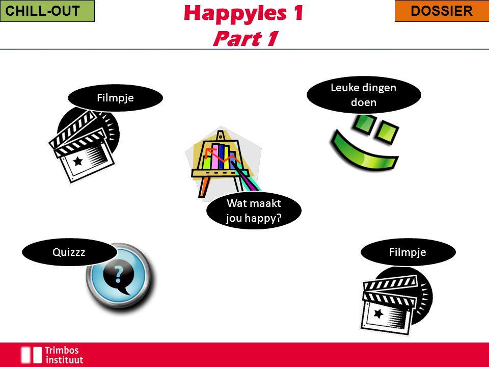 Happyles 1 Part 1 Filmpje CHILL-OUTDOSSIER Filmpje Leuke dingen doen Wat maakt jou happy? Quizzz