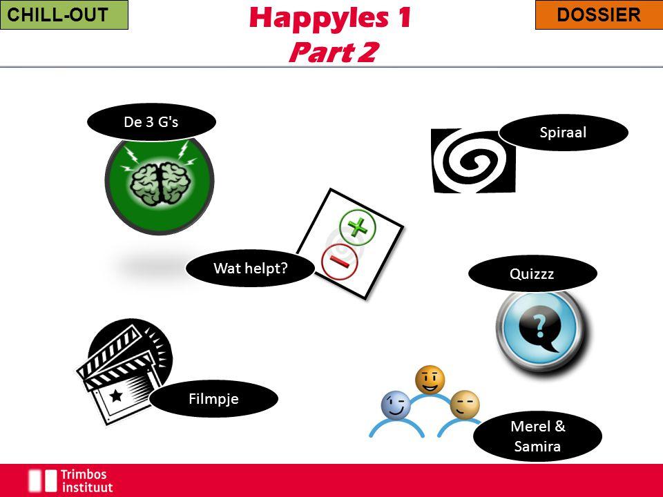 Happyles 1 Part 2 CHILL-OUTDOSSIER Quizzz Spiraal Wat helpt? De 3 G's Merel & Samira Filmpje