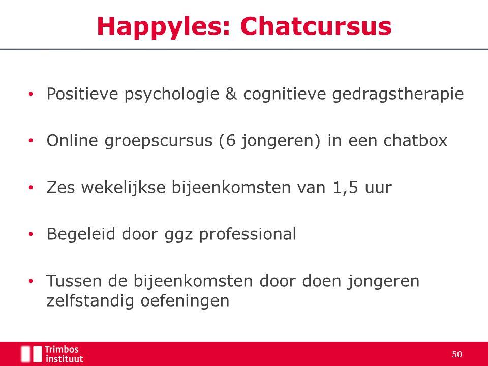 Positieve psychologie & cognitieve gedragstherapie Online groepscursus (6 jongeren) in een chatbox Zes wekelijkse bijeenkomsten van 1,5 uur Begeleid d
