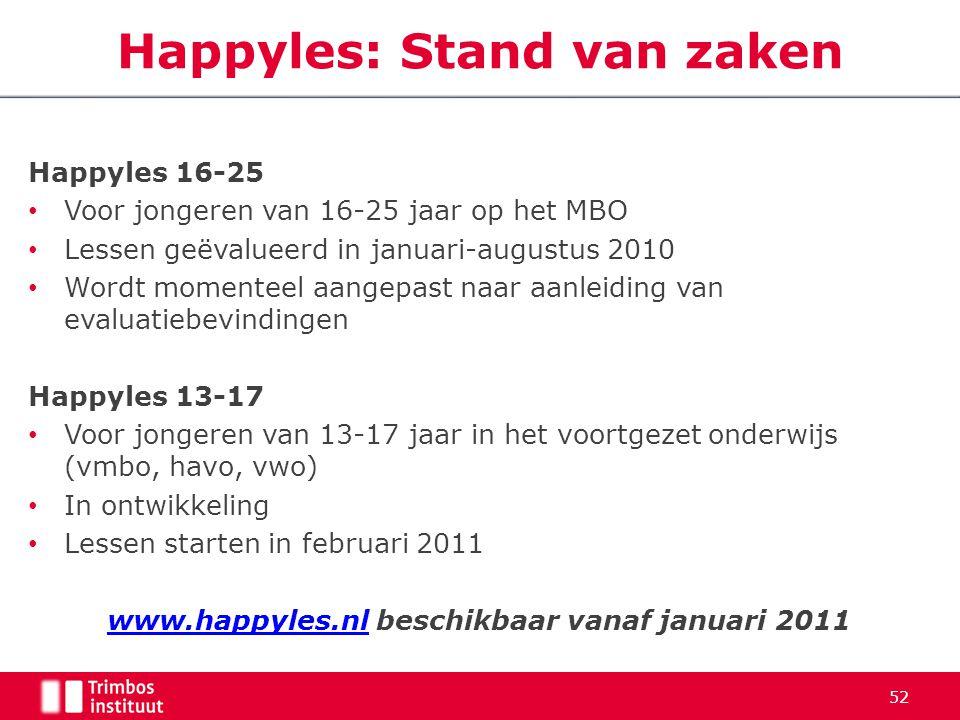 Happyles 16-25 Voor jongeren van 16-25 jaar op het MBO Lessen geëvalueerd in januari-augustus 2010 Wordt momenteel aangepast naar aanleiding van evalu