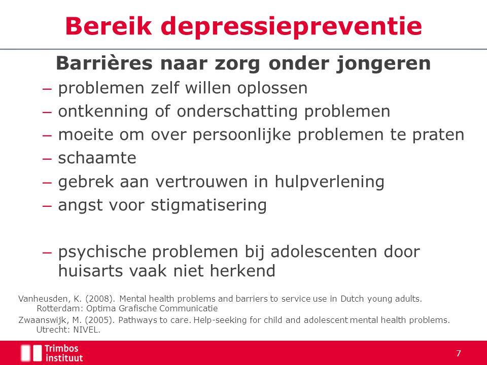 Barrières naar zorg onder jongeren – problemen zelf willen oplossen – ontkenning of onderschatting problemen – moeite om over persoonlijke problemen t
