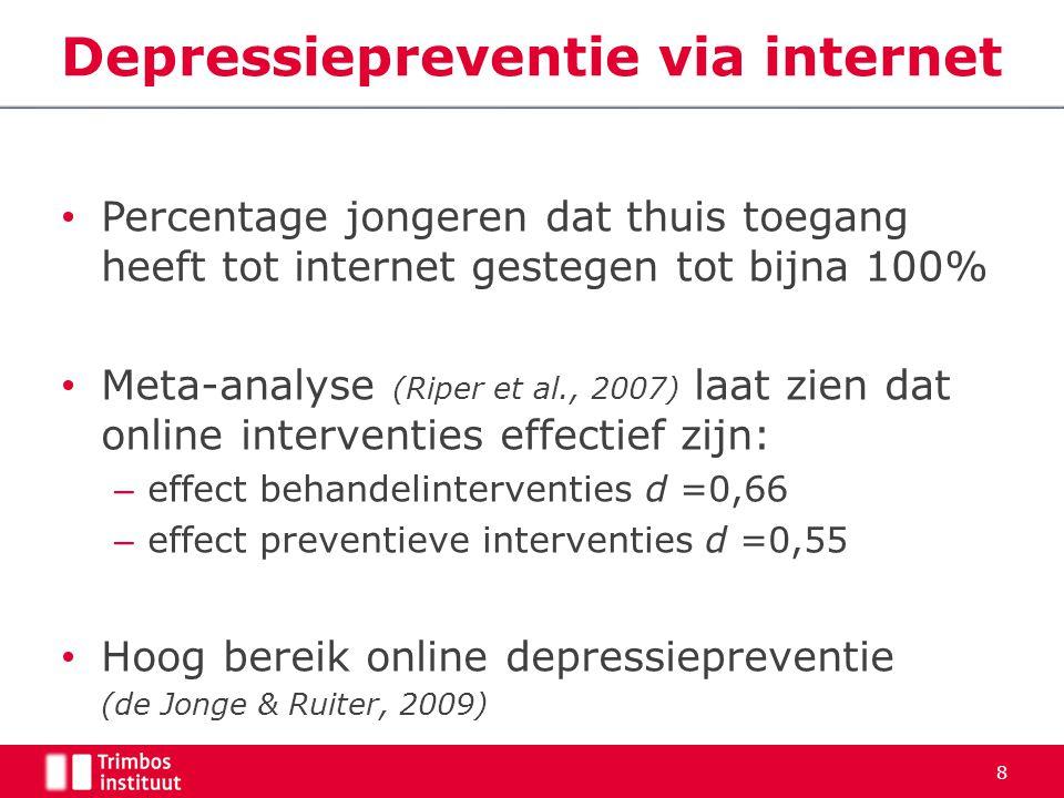Percentage jongeren dat thuis toegang heeft tot internet gestegen tot bijna 100% Meta-analyse (Riper et al., 2007) laat zien dat online interventies e