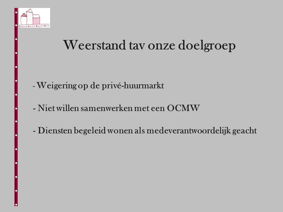 Weerstand tav onze doelgroep - Weigering op de privé-huurmarkt - Niet willen samenwerken met een OCMW - Diensten begeleid wonen als medeverantwoordelijk geacht