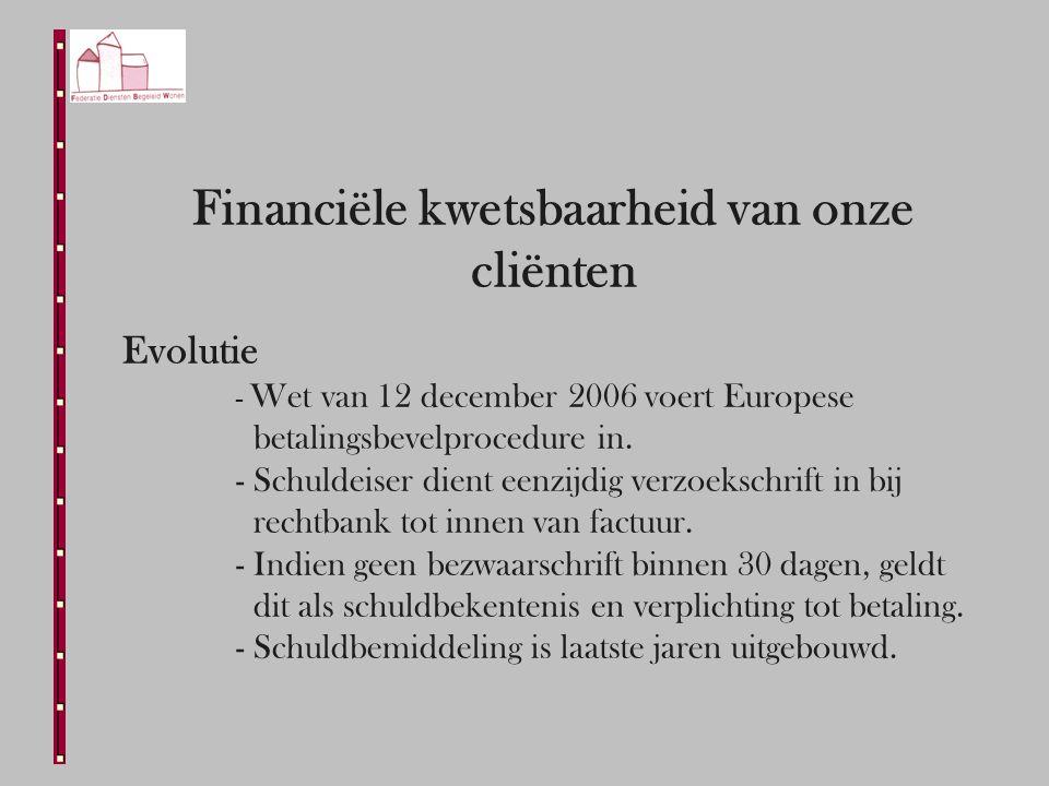 Financiële kwetsbaarheid van onze cliënten Evolutie - Wet van 12 december 2006 voert Europese betalingsbevelprocedure in.