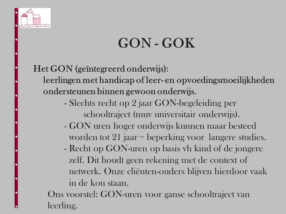 GON - GOK Het GON (geïntegreerd onderwijs): leerlingen met handicap of leer- en opvoedingsmoeilijkheden ondersteunen binnen gewoon onderwijs.
