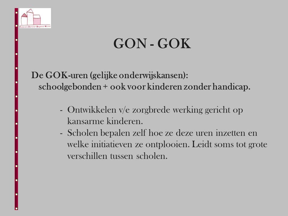 GON - GOK De GOK-uren (gelijke onderwijskansen): schoolgebonden + ook voor kinderen zonder handicap.