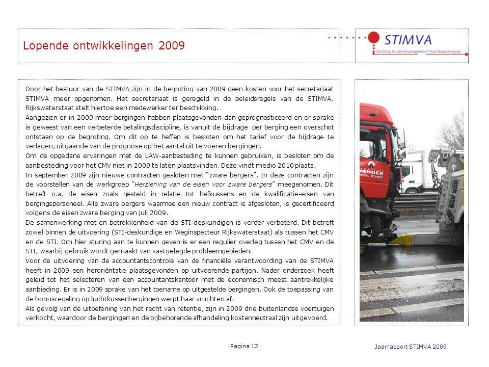 Lopende ontwikkelingen 2009 Jaarrapport STIMVA 2009 Pagina 12 Door het bestuur van de STIMVA zijn in de begroting van 2009 geen kosten voor het secret