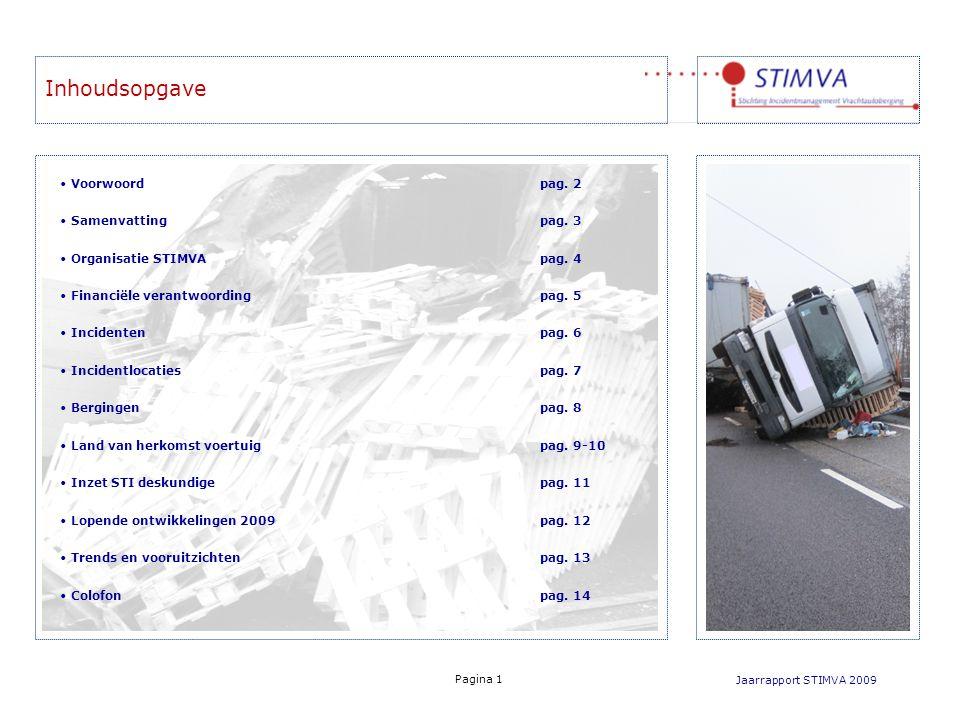 Inhoudsopgave Jaarrapport STIMVA 2009 Voorwoordpag. 2 Samenvatting pag. 3 Organisatie STIMVA pag. 4 Financiële verantwoordingpag. 5 Incidentenpag. 6 I