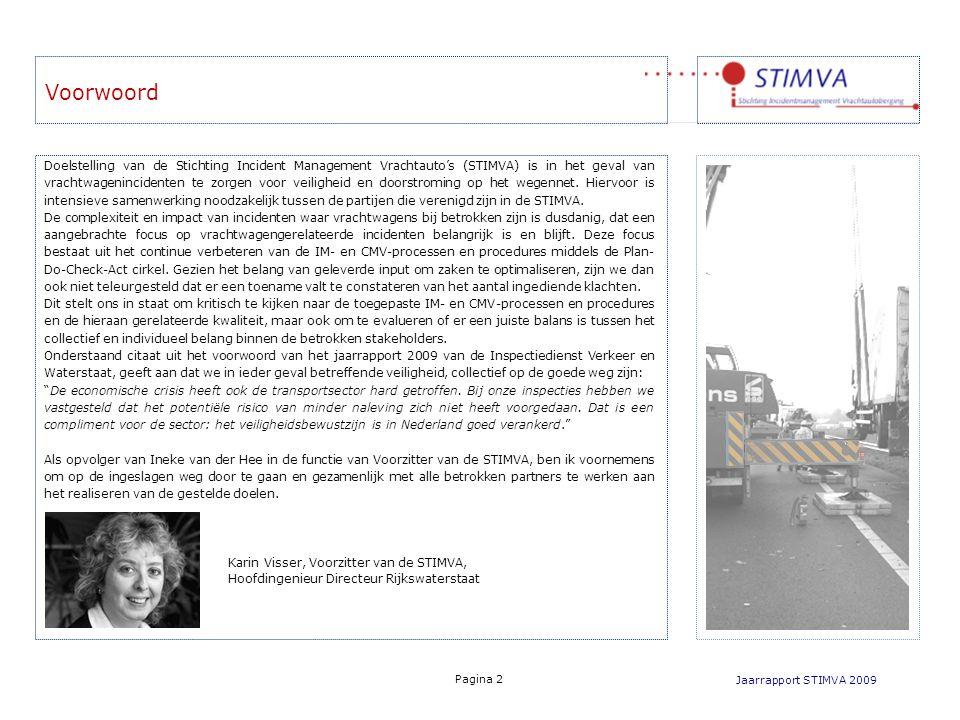 Voorwoord Jaarrapport STIMVA 2009 Pagina 2 Doelstelling van de Stichting Incident Management Vrachtauto's (STIMVA) is in het geval van vrachtwageninci