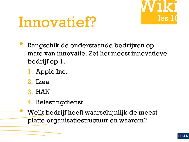 les 10 Innovatief. Rangschik de onderstaande bedrijven op mate van innovatie.