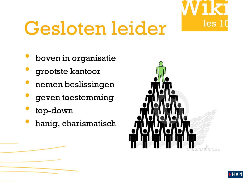 les 10 Gesloten leider boven in organisatie grootste kantoor nemen beslissingen geven toestemming top-down hanig, charismatisch
