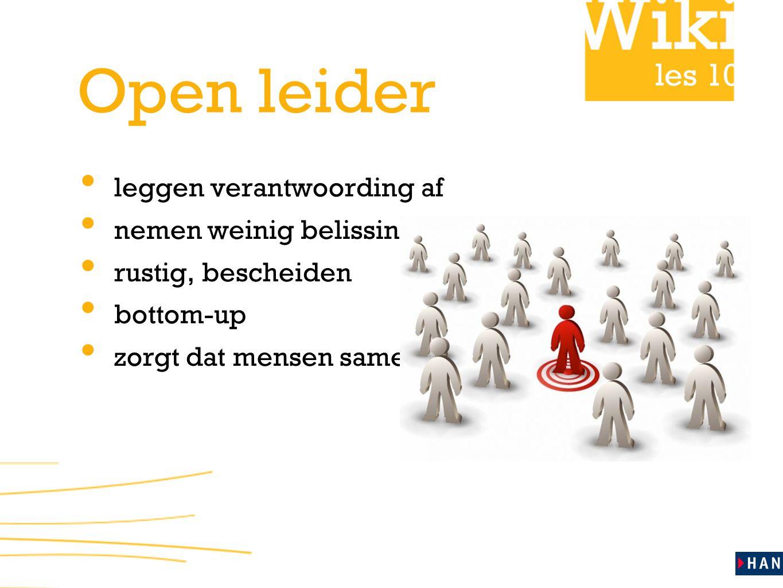 les 10 Open leider leggen verantwoording af nemen weinig belissingen rustig, bescheiden bottom-up zorgt dat mensen samen willen werken!