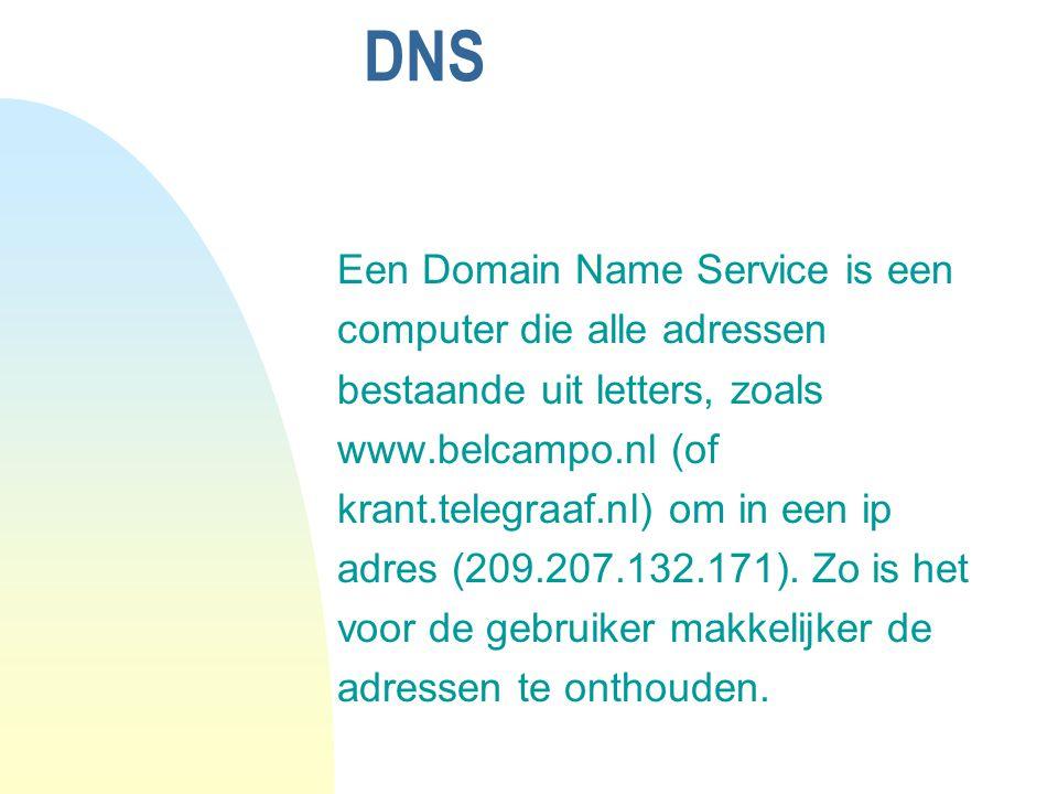 DNS Een Domain Name Service is een computer die alle adressen bestaande uit letters, zoals www.belcampo.nl (of krant.telegraaf.nl) om in een ip adres