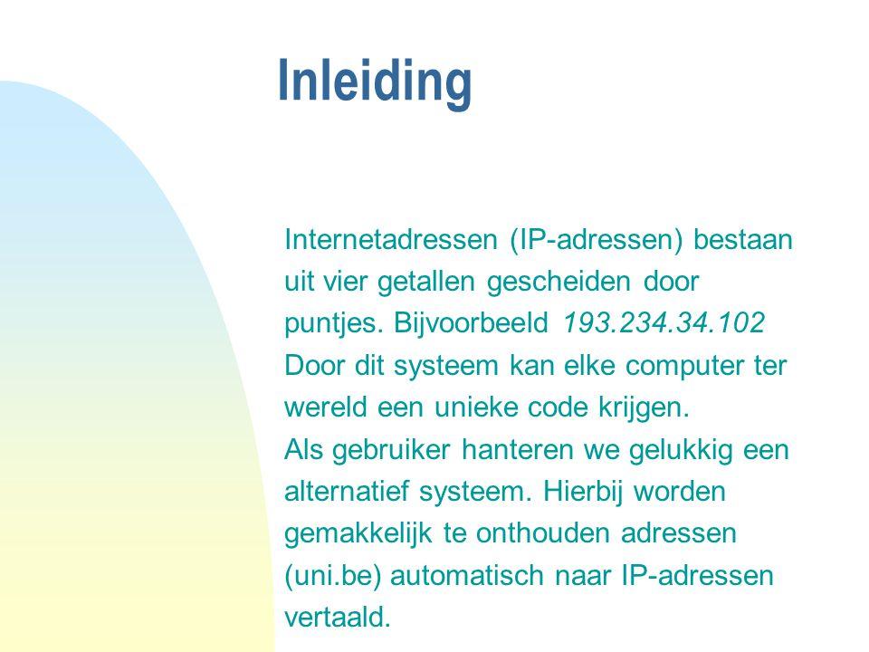 Inleiding Internetadressen (IP-adressen) bestaan uit vier getallen gescheiden door puntjes. Bijvoorbeeld 193.234.34.102 Door dit systeem kan elke comp