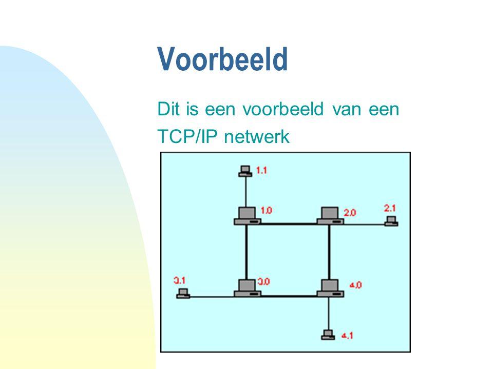 Voorbeeld Dit is een voorbeeld van een TCP/IP netwerk