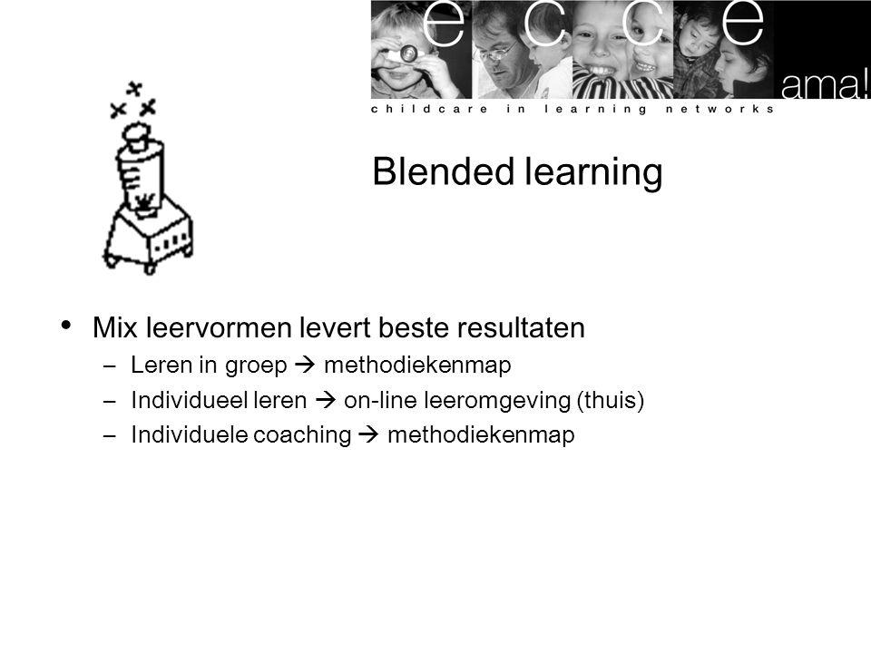 Blended learning Mix leervormen levert beste resultaten –Leren in groep  methodiekenmap –Individueel leren  on-line leeromgeving (thuis) –Individuel