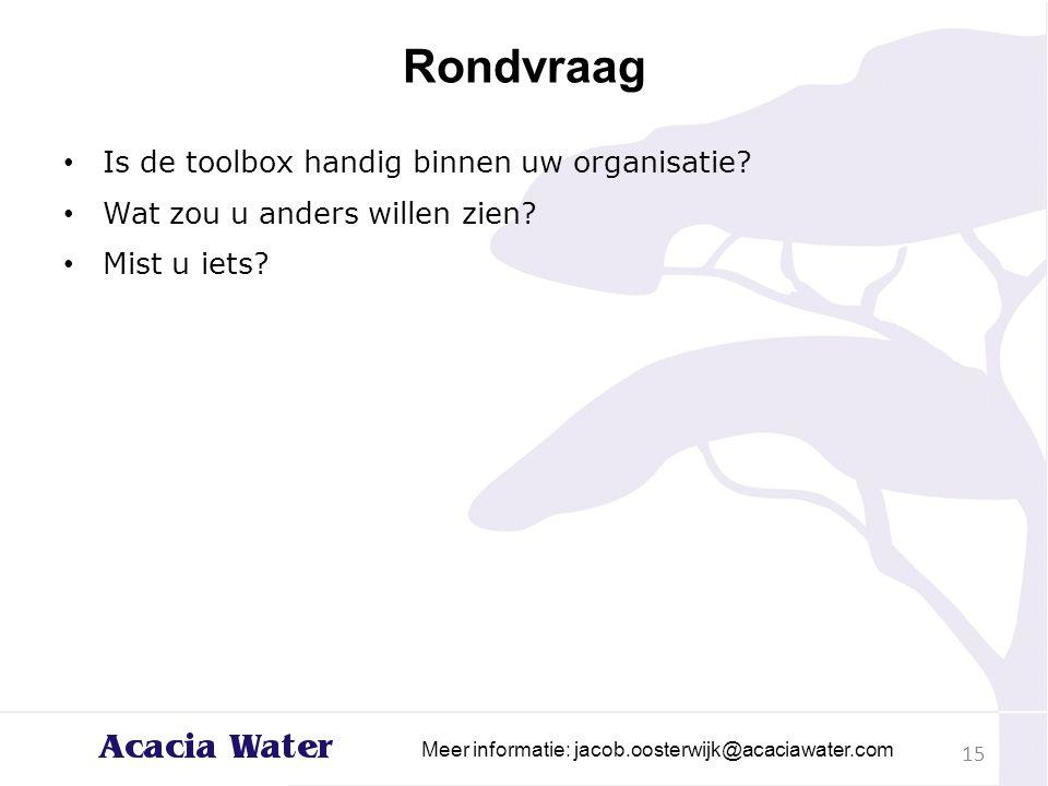 Rondvraag Is de toolbox handig binnen uw organisatie? Wat zou u anders willen zien? Mist u iets? 15 Meer informatie: jacob.oosterwijk@acaciawater.com