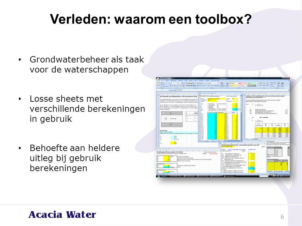 Verleden: waarom een toolbox? Grondwaterbeheer als taak voor de waterschappen Losse sheets met verschillende berekeningen in gebruik Behoefte aan held