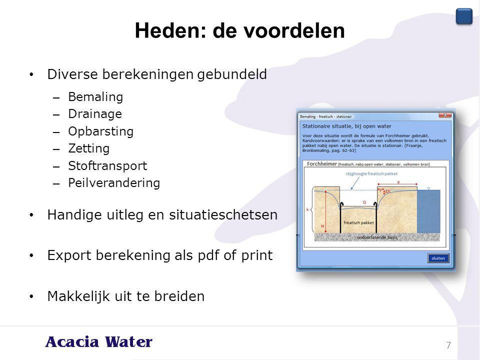 Heden: de voordelen Diverse berekeningen gebundeld – Bemaling – Drainage – Opbarsting – Zetting – Stoftransport – Peilverandering Handige uitleg en si