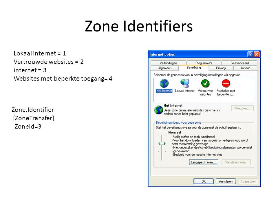 Zone Identifiers Lokaal internet = 1 Vertrouwde websites = 2 internet = 3 Websites met beperkte toegang= 4 Zone.Identifier [ZoneTransfer] ZoneId=3