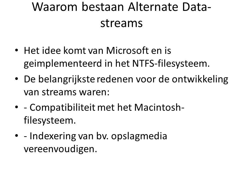Waarom bestaan Alternate Data- streams Het idee komt van Microsoft en is geimplementeerd in het NTFS-filesysteem. De belangrijkste redenen voor de ont