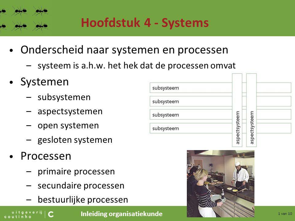 Inleiding organisatiekunde 1 van 10 Hoofdstuk 4 - Systems Onderscheid naar systemen en processen –systeem is a.h.w. het hek dat de processen omvat Sys