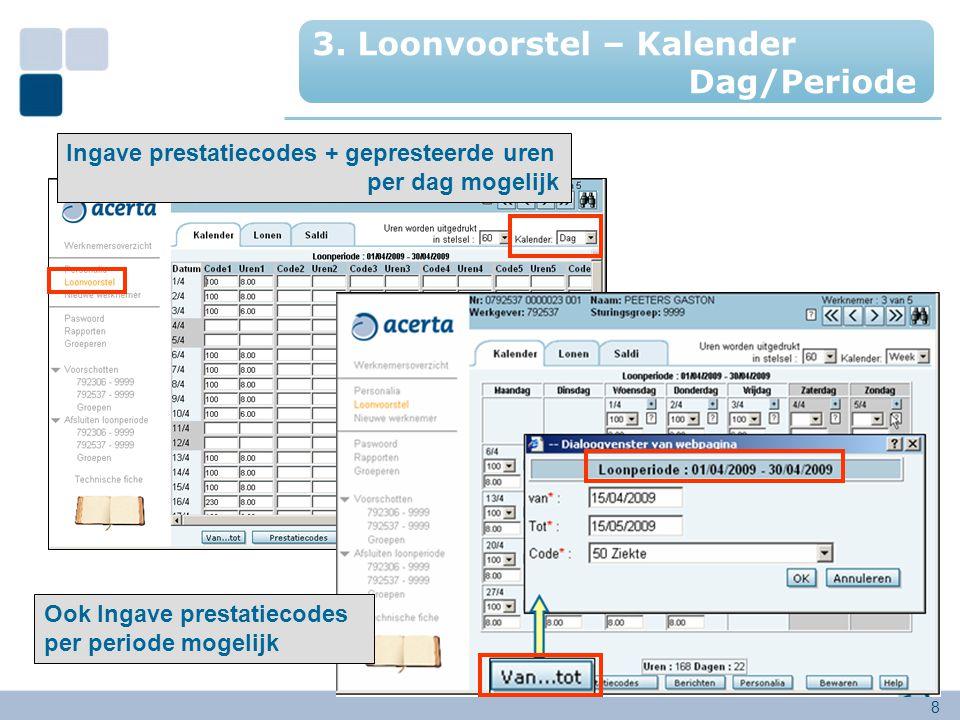 8 Ingave prestatiecodes + gepresteerde uren per dag mogelijk Ook Ingave prestatiecodes per periode mogelijk 3. Loonvoorstel – Kalender Dag/Periode