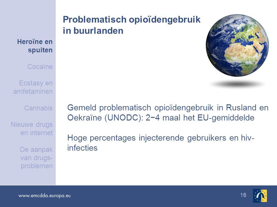 16 Gemeld problematisch opioïdengebruik in Rusland en Oekraïne (UNODC): 2−4 maal het EU-gemiddelde Hoge percentages injecterende gebruikers en hiv- infecties Problematisch opioïdengebruik in buurlanden Heroïne en spuiten Cocaïne Ecstasy en amfetaminen Cannabis Nieuwe drugs en internet De aanpak van drugs- problemen