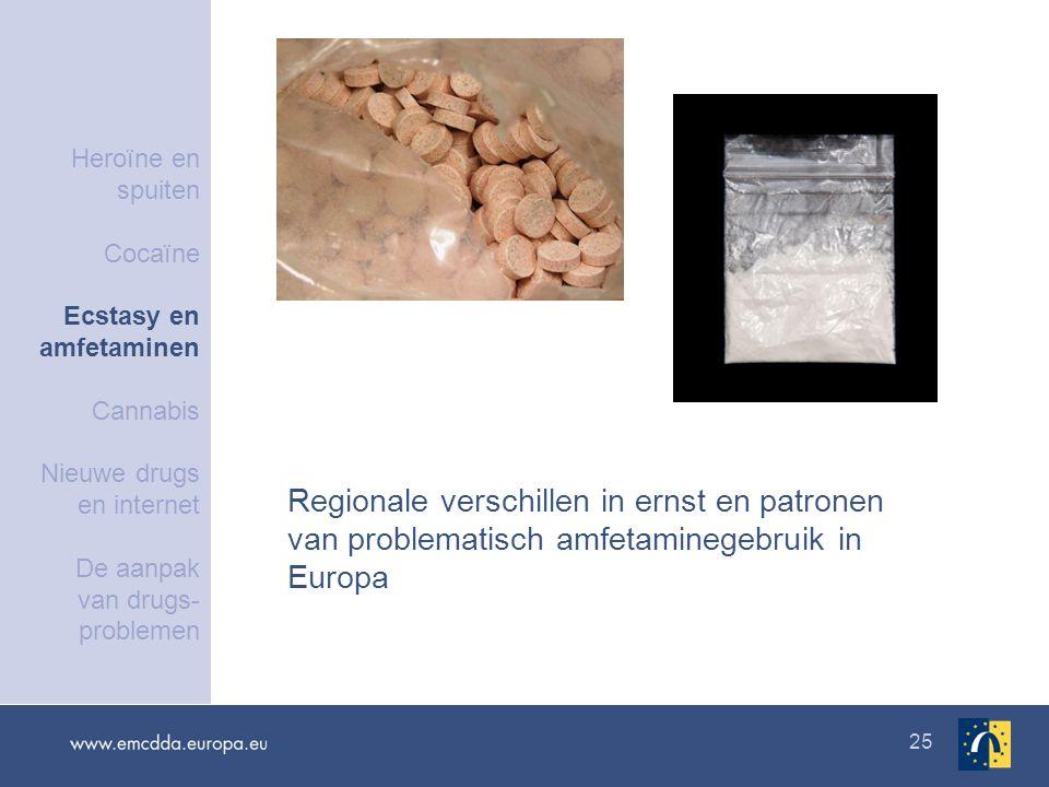 25 Regionale verschillen in ernst en patronen van problematisch amfetaminegebruik in Europa Heroïne en spuiten Cocaïne Ecstasy en amfetaminen Cannabis Nieuwe drugs en internet De aanpak van drugs- problemen