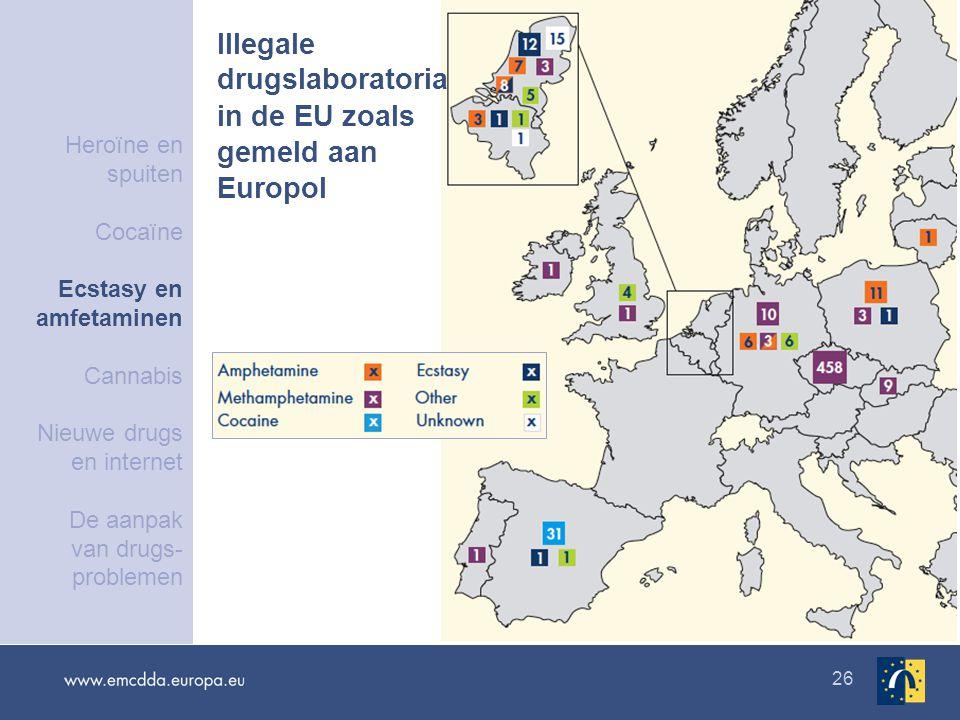 26 Illegale drugslaboratoria in de EU zoals gemeld aan Europol Heroïne en spuiten Cocaïne Ecstasy en amfetaminen Cannabis Nieuwe drugs en internet De aanpak van drugs- problemen