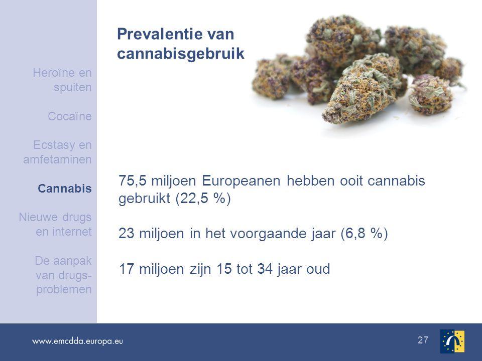 27 75,5 miljoen Europeanen hebben ooit cannabis gebruikt (22,5 %) 23 miljoen in het voorgaande jaar (6,8 %) 17 miljoen zijn 15 tot 34 jaar oud Prevalentie van cannabisgebruik Heroïne en spuiten Cocaïne Ecstasy en amfetaminen Cannabis Nieuwe drugs en internet De aanpak van drugs- problemen