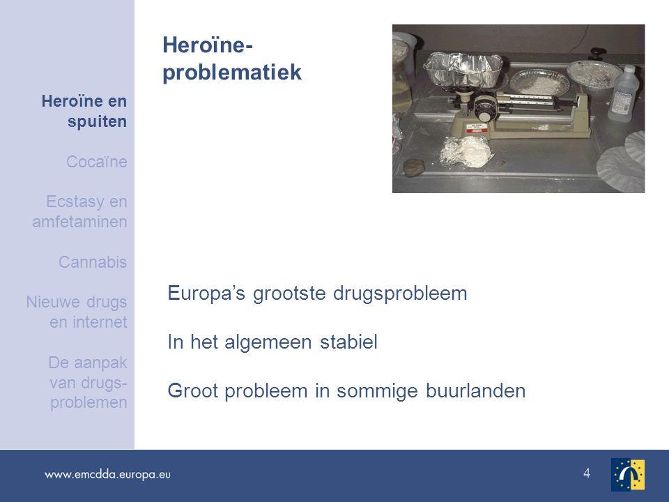 4 Europa's grootste drugsprobleem In het algemeen stabiel Groot probleem in sommige buurlanden Heroïne- problematiek Heroïne en spuiten Cocaïne Ecstasy en amfetaminen Cannabis Nieuwe drugs en internet De aanpak van drugs- problemen