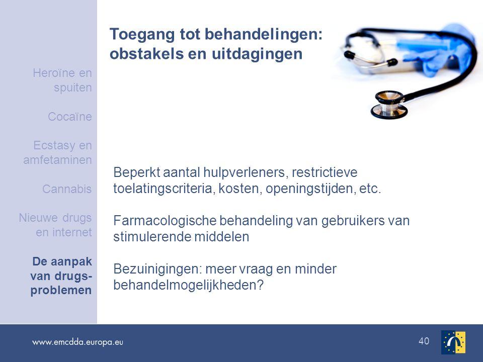 40 Toegang tot behandelingen: obstakels en uitdagingen Beperkt aantal hulpverleners, restrictieve toelatingscriteria, kosten, openingstijden, etc.