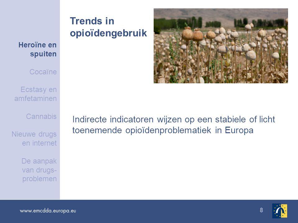8 Indirecte indicatoren wijzen op een stabiele of licht toenemende opioïdenproblematiek in Europa Trends in opioïdengebruik Heroïne en spuiten Cocaïne Ecstasy en amfetaminen Cannabis Nieuwe drugs en internet De aanpak van drugs- problemen