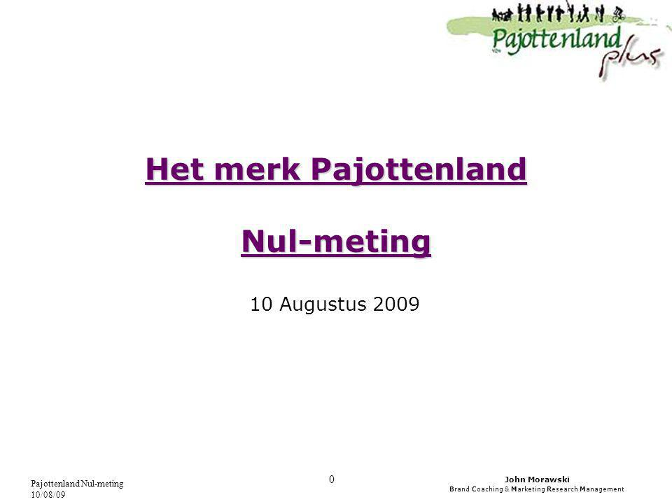 John Morawski Brand Coaching & Marketing Research Management Pajottenland Nul-meting 10/08/09 0 Het merk Pajottenland Nul-meting 10 Augustus 2009