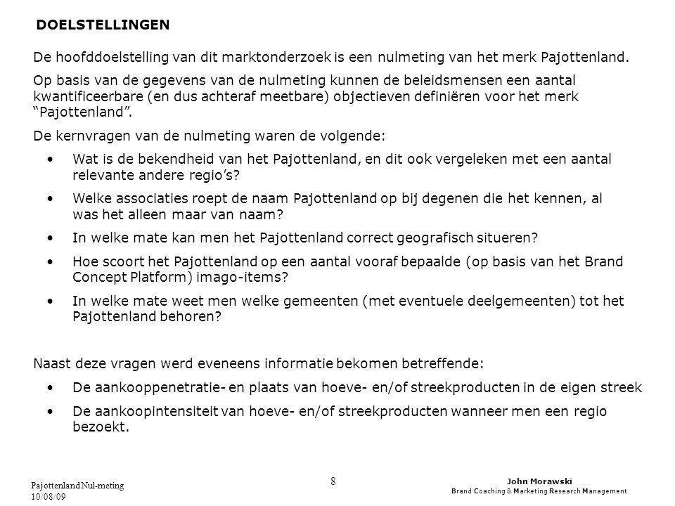 John Morawski Brand Coaching & Marketing Research Management Pajottenland Nul-meting 10/08/09 9 METHODE Om zo kostefficiënt mogelijk te zijn werd geopteerd voor de methode van de online enquête.