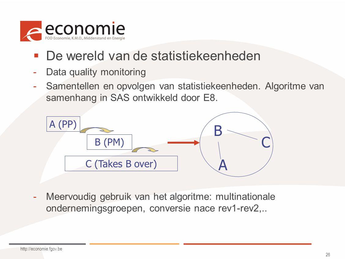 http://economie.fgov.be 26  De wereld van de statistiekeenheden -Data quality monitoring -Samentellen en opvolgen van statistiekeenheden.