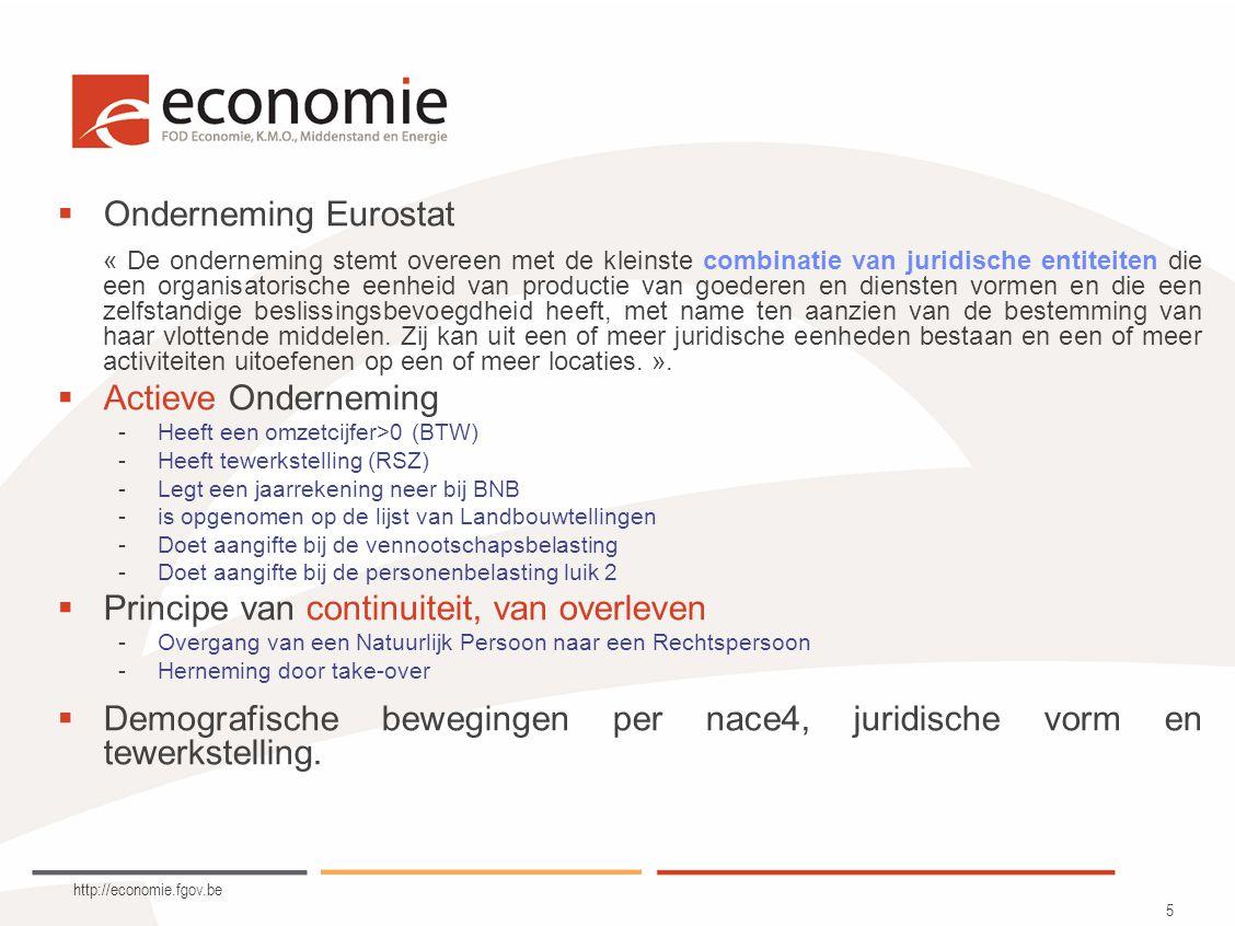 http://economie.fgov.be 16 Beheer van gebeurtenissen  Profiling van onderneming in de loop van de tijd –Samenstellen van een onderneming uit juridische eenheden.
