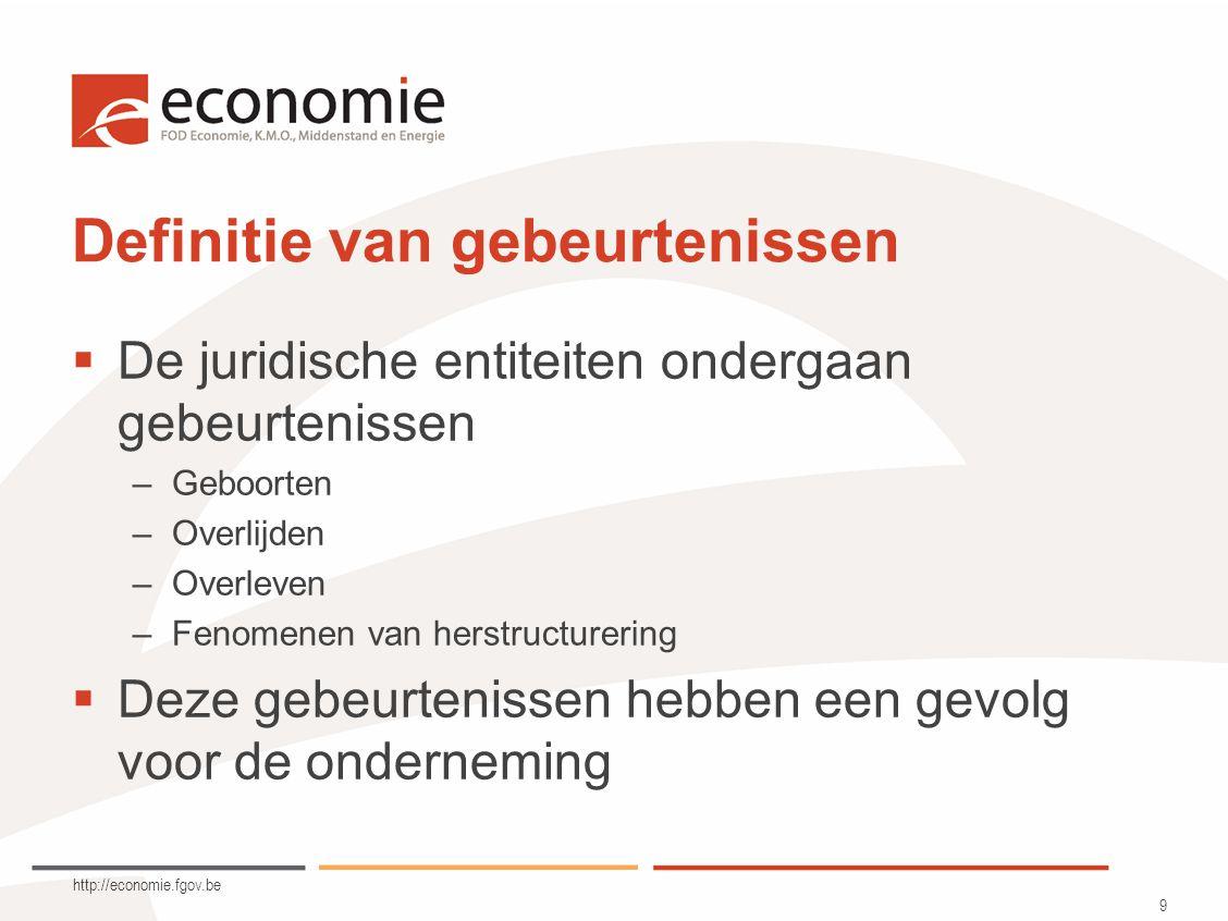 http://economie.fgov.be 9 Definitie van gebeurtenissen  De juridische entiteiten ondergaan gebeurtenissen –Geboorten –Overlijden –Overleven –Fenomenen van herstructurering  Deze gebeurtenissen hebben een gevolg voor de onderneming
