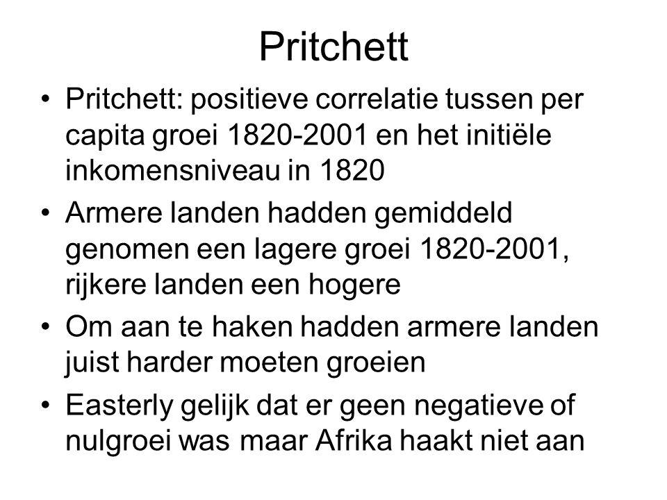 Pritchett Pritchett: positieve correlatie tussen per capita groei 1820-2001 en het initiële inkomensniveau in 1820 Armere landen hadden gemiddeld genomen een lagere groei 1820-2001, rijkere landen een hogere Om aan te haken hadden armere landen juist harder moeten groeien Easterly gelijk dat er geen negatieve of nulgroei was maar Afrika haakt niet aan